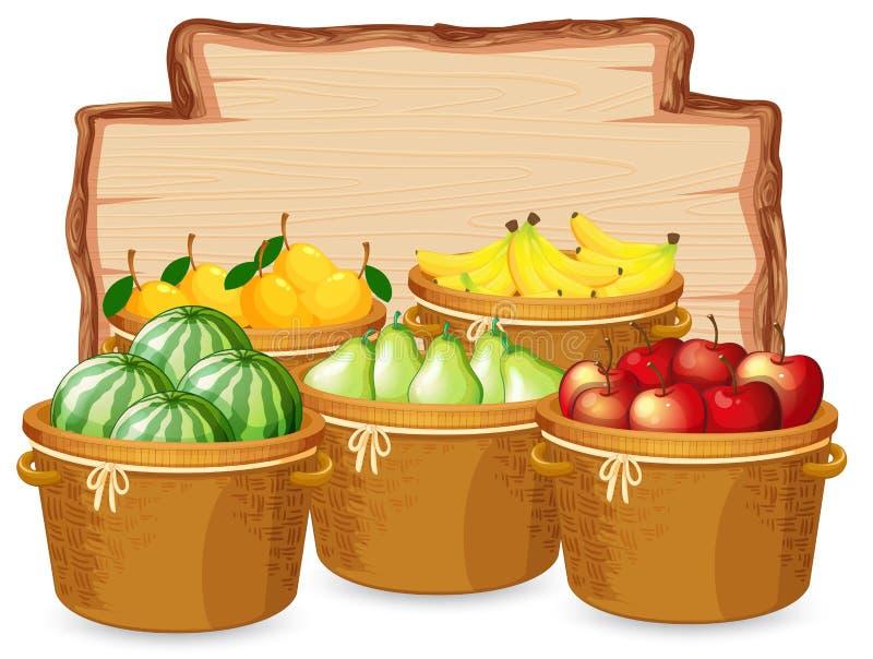 许多在木板的果子 皇族释放例证