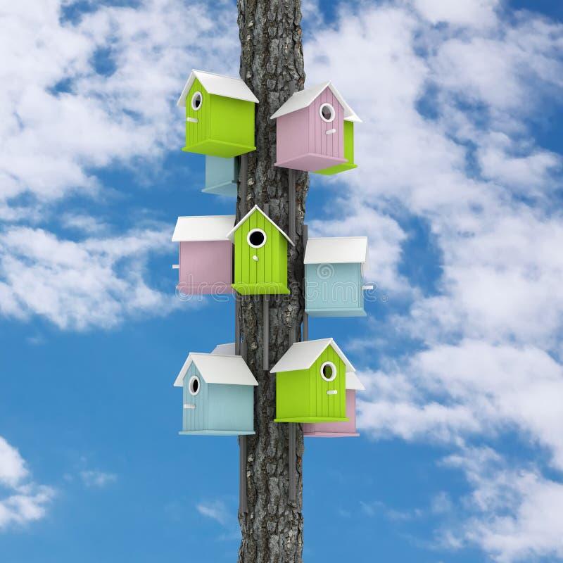 许多在树岗位3d任的小的五颜六色的木鸟舍 向量例证