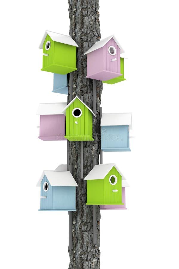 许多在树岗位3d任的小的五颜六色的木鸟舍 库存例证
