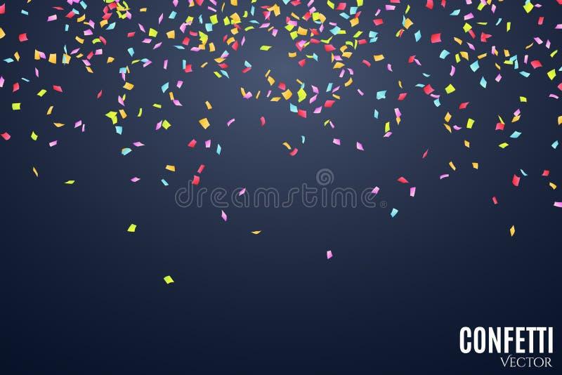 许多在深蓝背景的落的多彩多姿的五彩纸屑 庆祝的背景在生日 您的项目的地方 向量 向量例证