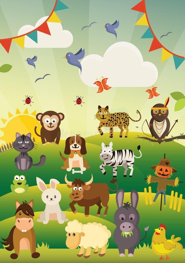 许多在绿色领域的逗人喜爱和滑稽的动物 库存例证