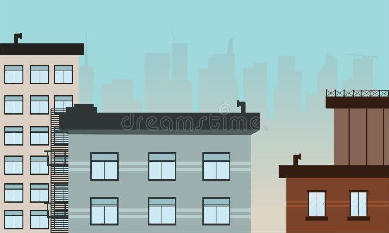 许多大厦风景传染媒介艺术 向量例证