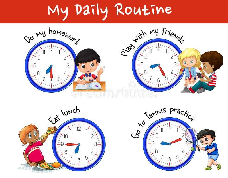 许多孩子每日惯例有时钟的 皇族释放例证