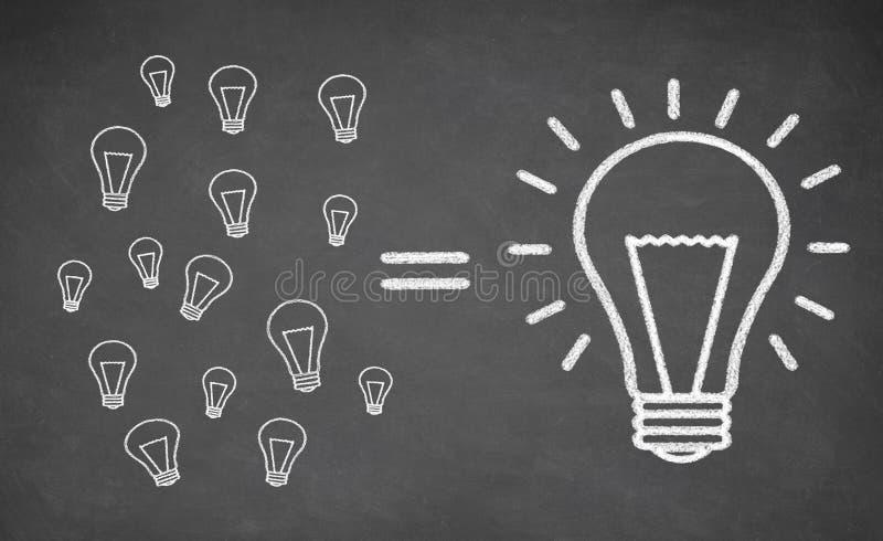 许多小电灯泡相等的大电灯泡 库存照片