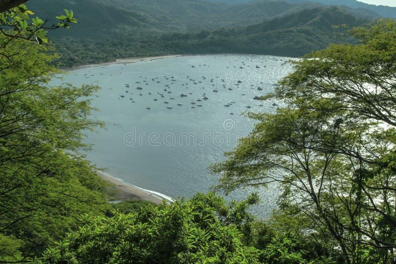 许多小船和船在绿松石海湾 在树鸟瞰图中的蓝色盐水湖 与小船和小船的海景从上面 科斯塔 库存照片