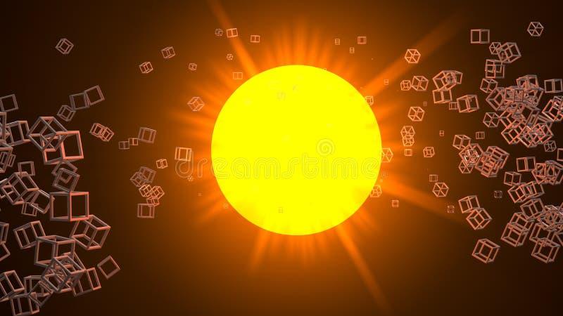 许多或星围拢的太阳小立方体滤网反对 三维光栅例证 皇族释放例证