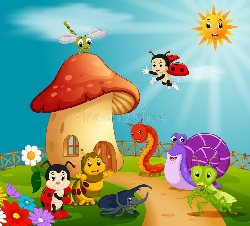 许多昆虫和一个蘑菇房子在森林里 向量例证