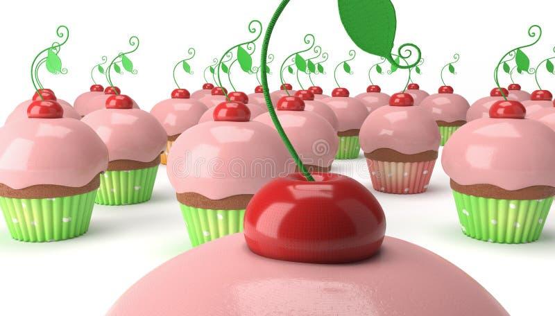 许多杯形蛋糕用樱桃 库存照片