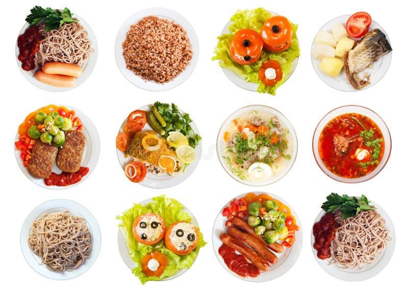 许多板材顶视图用食物 免版税库存照片