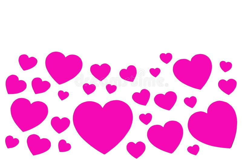 许多桃红色纸心脏以装饰框架的形式在白色背景的与拷贝空间 爱和华伦泰` s天的标志 图库摄影