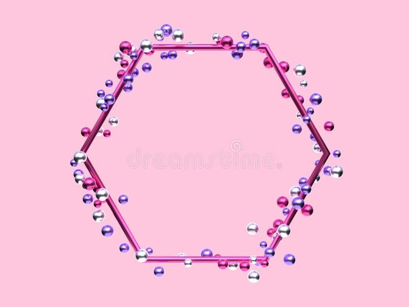 许多桃红色银色紫色金属几何形状的框架回报抽象背景的球/球形升空3d 向量例证