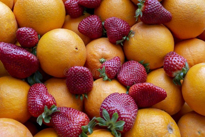 许多桔子和草莓 图库摄影