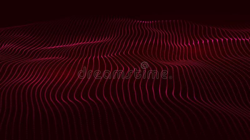 许多点抽象动态波浪  r r 发光的微粒 o ?? 库存图片