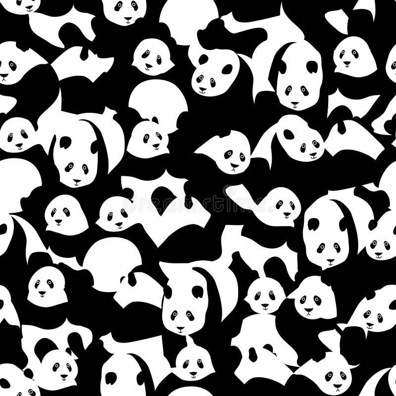 许多熊猫黑的白色无缝的样式 库存例证