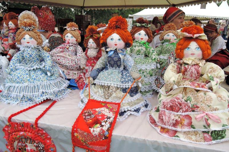 许多玩偶,从俄罗斯的纪念品 库存图片