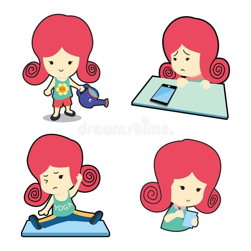 许多的愉快的逗人喜爱的女孩摆在动画片 库存图片