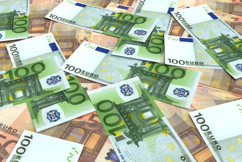 从许多的金钱背景欧元 库存图片
