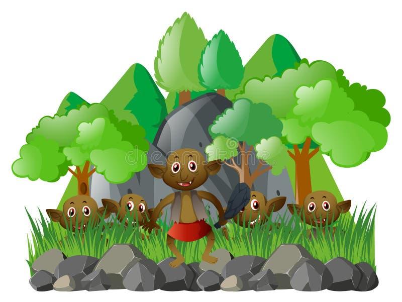 许多矮子在森林里 库存例证