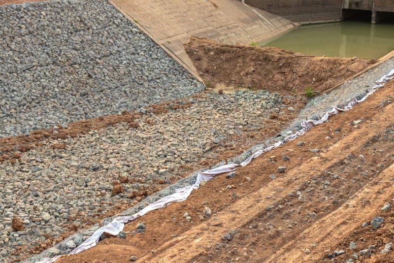 许多石头防止运河的侵蚀 图库摄影