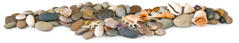 许多石头和海壳的被隔绝的图象 库存例证