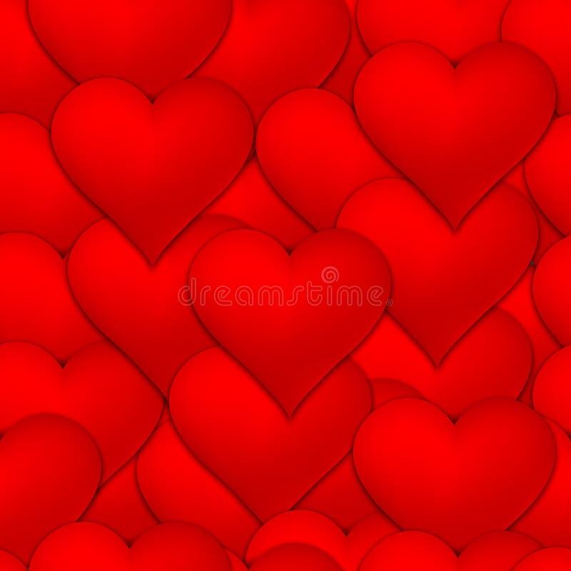 许多红色心脏无缝的样式背景 皇族释放例证
