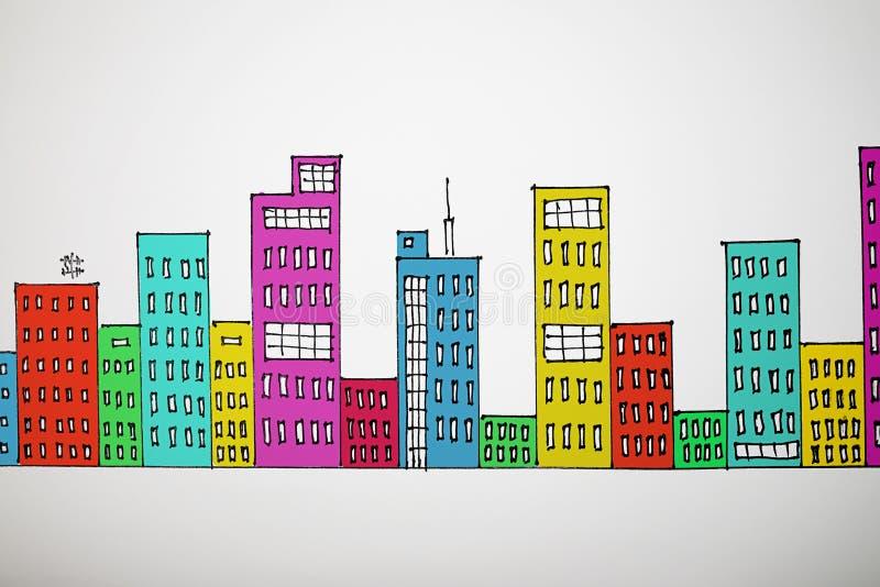 许多色图画都市风景 库存例证