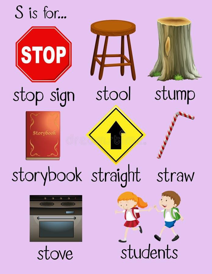 许多词从字母S开始 向量例证