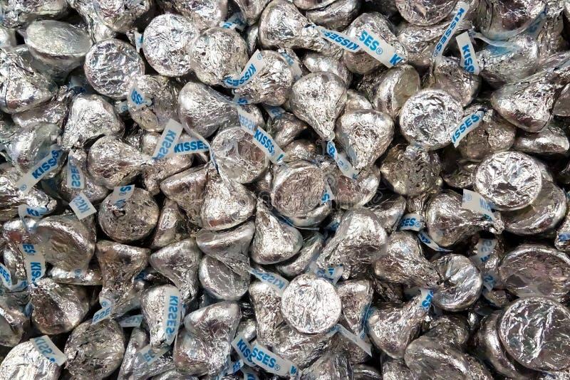 许多赫尔希巧克力亲吻 免版税库存照片