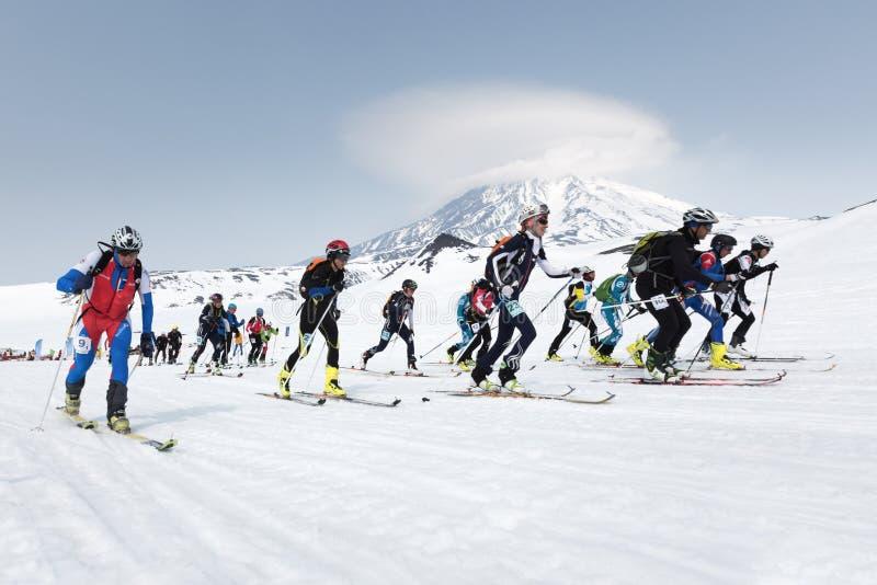 许多起动种族,滑雪登山家在山的滑雪上升 队种族滑雪登山 10第17 20 2009 4000在灰威严的美好的圆锥形考虑的日放射爆发之上扩大了高度堪察加kamchatskiy km多数nw发生一彼得罗巴甫洛斯克照片被到达的俄国海运stratovolcano的k 免版税库存图片