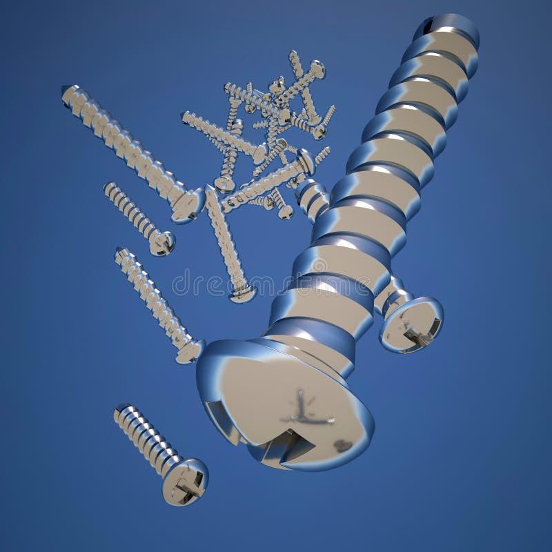 许多金属螺丝 向量例证