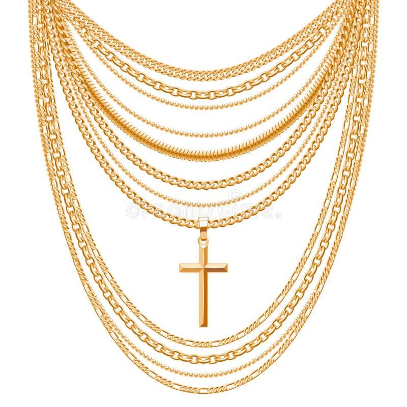许多链子金黄金属项链 库存例证