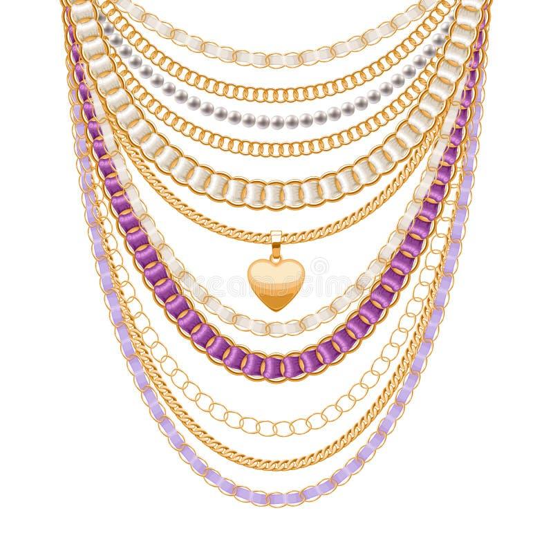 许多链子金黄金属项链 皇族释放例证