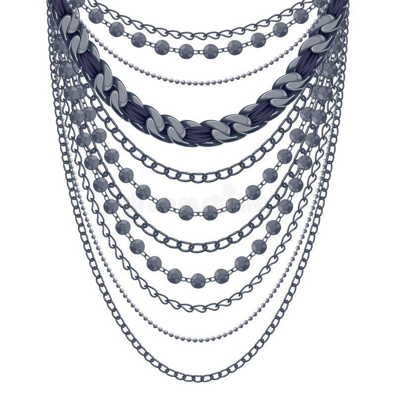 许多链子黑色金属项链 向量例证