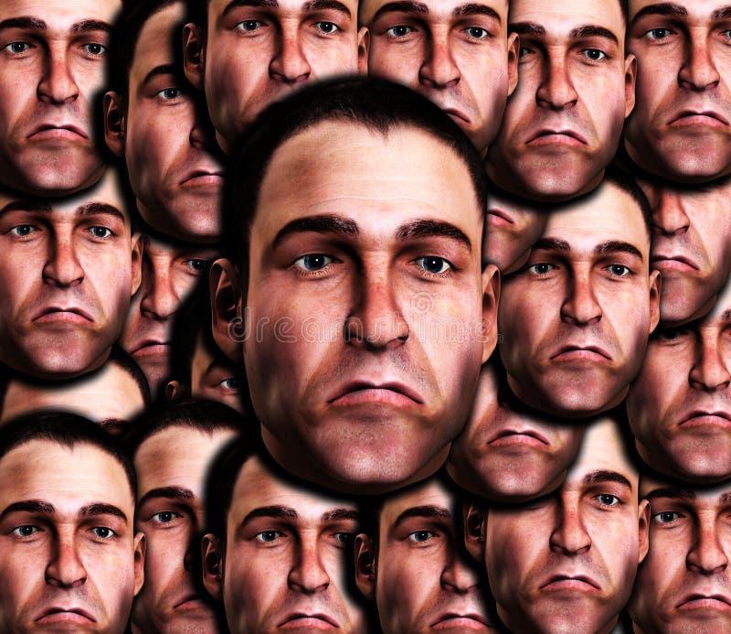许多非常哀伤的男性表面 免版税图库摄影