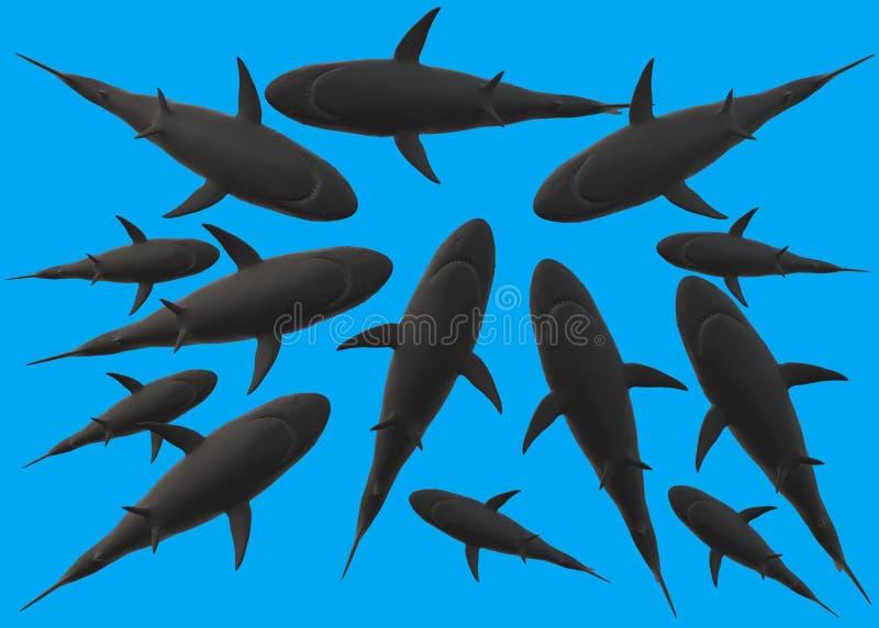 许多鲨鱼剪影从下面的反对一个深刻的蓝色海颜色背景 库存例证
