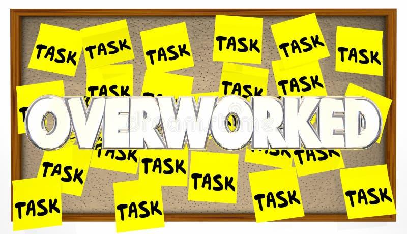 许多任务劳累了过度稠粘的笔记 库存例证