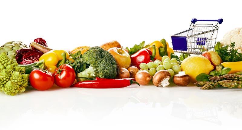 许多水果和蔬菜概念 免版税库存照片