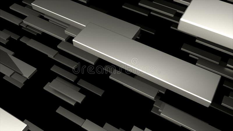许多3D金属块在空间,计算机生成的现代抽象背景, 3d回报 库存例证