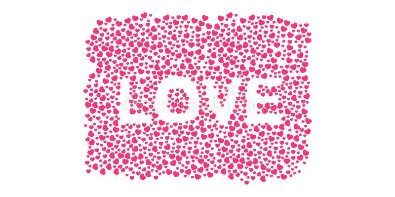 许多3D紫色桃红色心脏塑造在白色背景的爱形式 库存例证