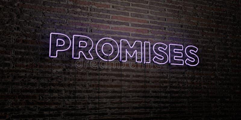 许诺-在砖墙背景的现实霓虹灯广告- 3D被回报的皇族自由储蓄图象 向量例证