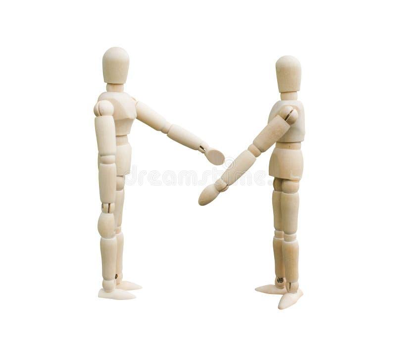 论据概念 两个木木偶谈论某事在白色背景 免版税库存照片
