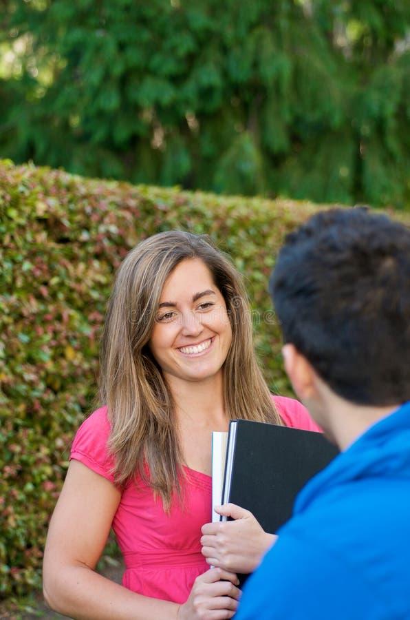 论述微笑的学员 免版税库存照片