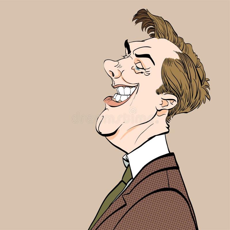 讽刺人 恶劣政客 背景漫画人物厚颜无耻的逗人喜爱的狗愉快的题头查出微笑白色 背景半音例证徽标空间文本向量 皇族释放例证