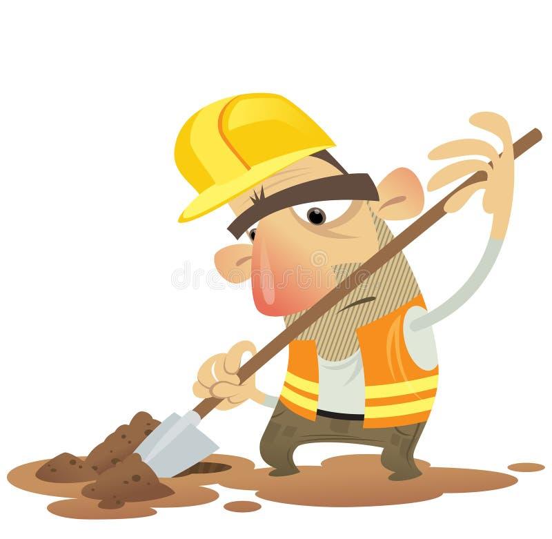 建设中人运作的开掘与锹佩带的舵 库存例证