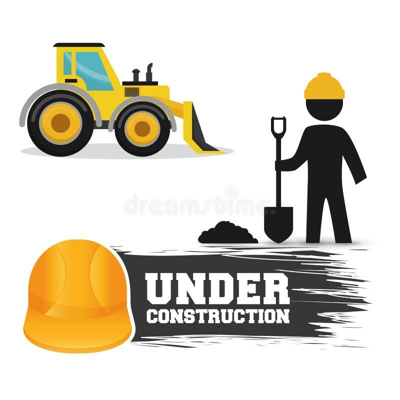 建设中工作者铁锹水泥挖掘机卡车和盔甲 库存例证
