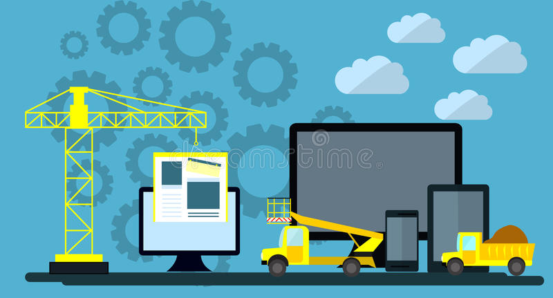 建设中网站平的设计,网页建设进程,网发展的站点表单布局 库存例证