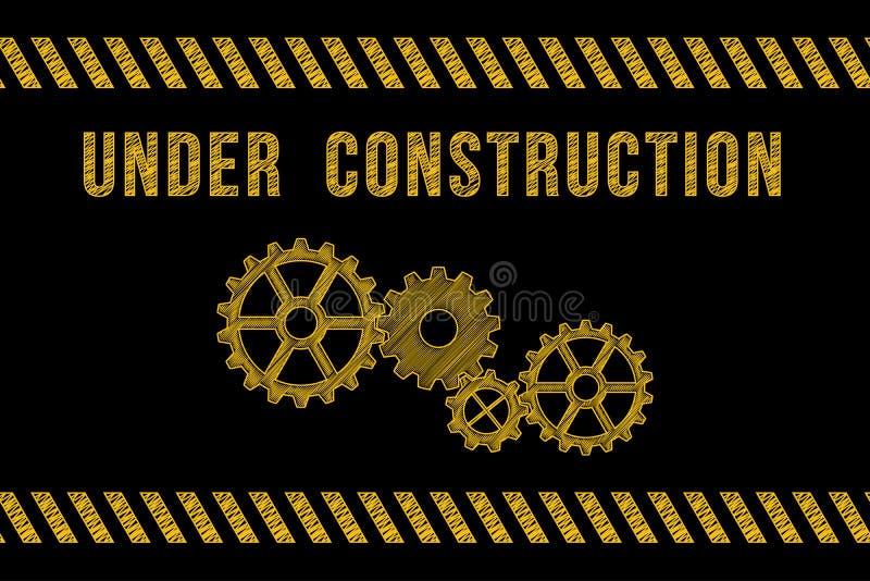 建设中路标在黑色的黄色与条纹 皇族释放例证