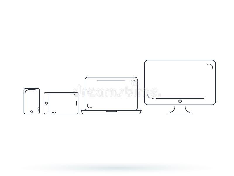 设备和小配件线艺术集合 膝上型计算机、智能手机,现代便携式和紧凑个人计算机的机器 皇族释放例证
