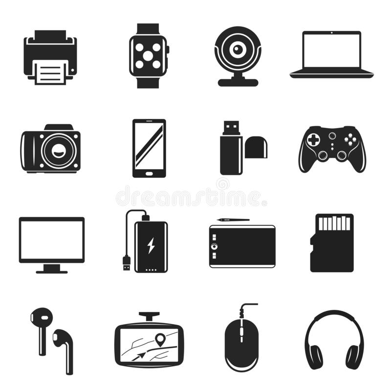 设备和小配件集合、计算机和通信标志 向量例证
