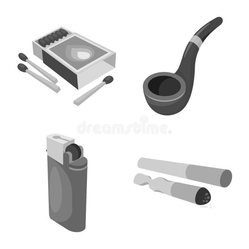 设备和抽烟的标志的传染媒介例证 套设备和害处储蓄传染媒介例证 皇族释放例证